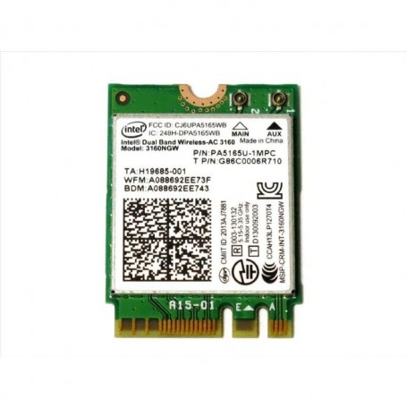M.2 Wifi Intel AC3168 Dual-Band 2,4 & 5Ghz 433Mbit/s WLAN+Bluetooth 4.0 M.2 Card ►Certifiée Linux & windows